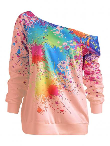 Paint Splatter Print Skew Neck Sweatshirt