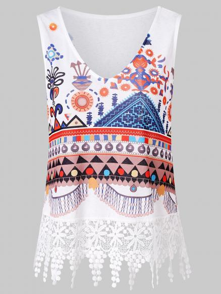 Printed Lace Panel Tank Top