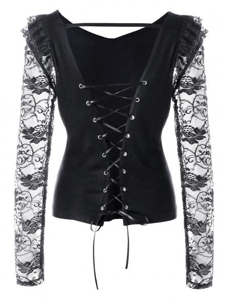 Lace Panel Open Back Lace Up Top