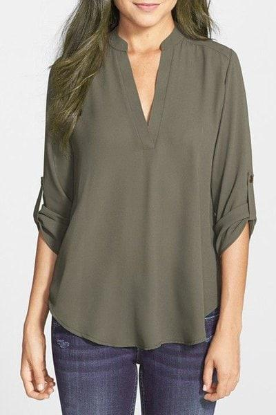 Brief Style V-Neck Long Sleeve Army Green Loose-Fitting Blouse For Women