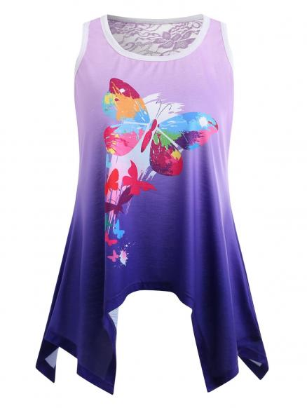 Ombre Butterfly Print Tank Top