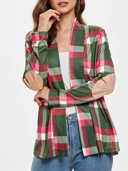 Elbow Patch Plus Size Plaid Cardigan