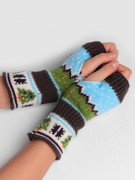 Christmas Tree Fingerless Winter Gloves