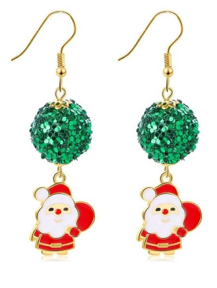 Christmas Sequins Ball Decoration Santa Earrings