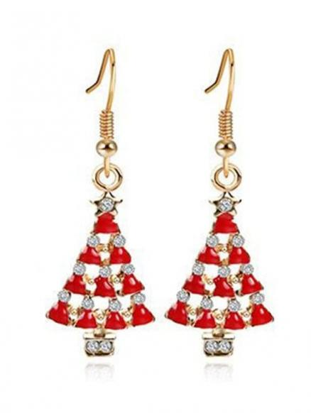 Christmas Tree Faux Crystal Embellished Earrings