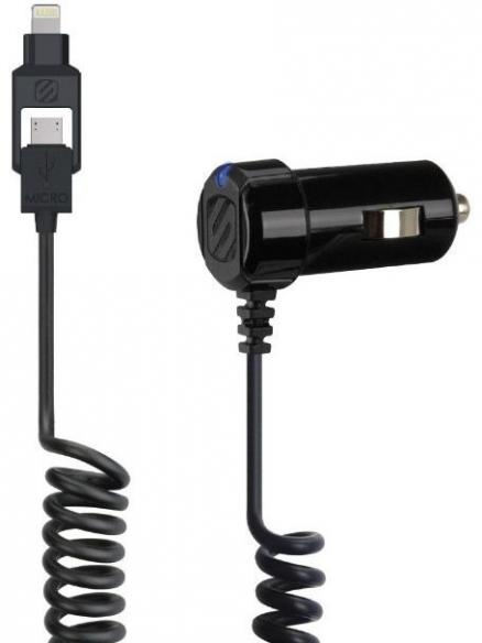 Scosche Car Charger Strikedrive 12W 2A Black with Integrated Lightning and microUSB Cable (I2MC12A)