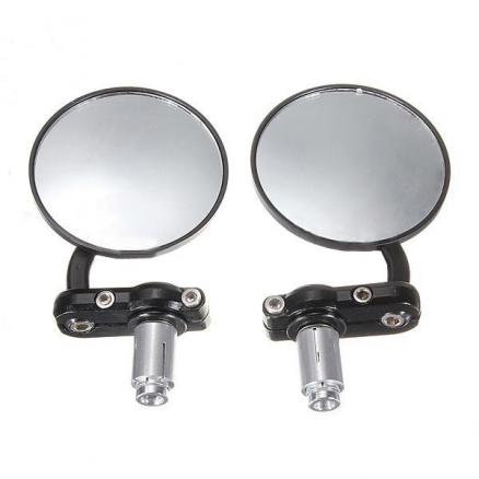 Motorcycle Aluminum 3Inch Round Handle Bar End 7/8Inch Side Mirrors