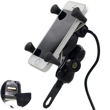12-30V 3.5-6 inch Motorcycle Phone GPS Holder X-Grip USB Charger Power Outlet Socket