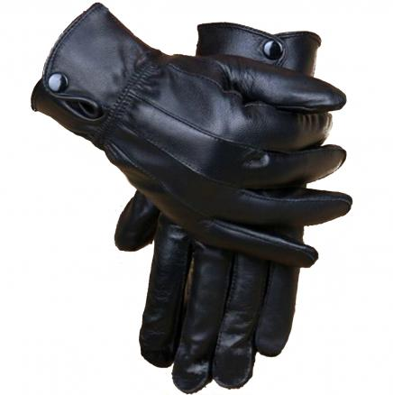 Motorcycle Riding Cycling Winter Leather Coral Fleece Warm Gloves