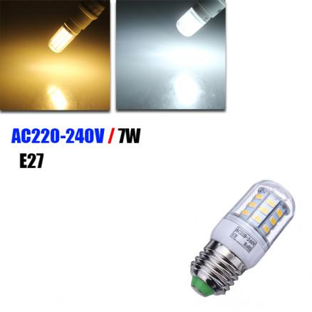 E27 7W 560LM Pure White 30 SMD 5630 LED Corn Light Lamp Bulbs 220-240V