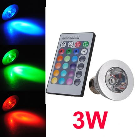 E27 3W Remote Control LED Bulb Light 16 Color Changing 85-240V