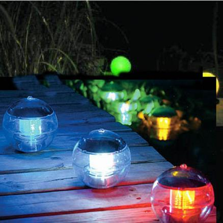 Solar Power Self-Recharging Floating LED Ball for Garden Ponds