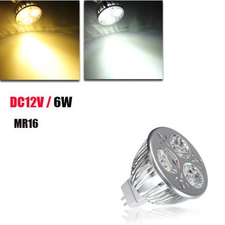 MR16 6W White/Warm White 3 LED Spotlight LED Light Bulb DC 12V