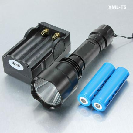 C8 XM-L T6 1300LM 5 Modes LED Flashlight+ Battery+Charger