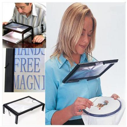LED A4 Page Large Hands Free Magnifier 3X Magnifying Reading&Cord