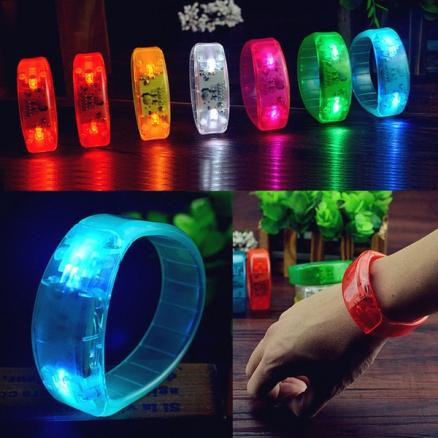 Voice Control LED Light Glows Wristbands Bracelet Bangle Party Concert