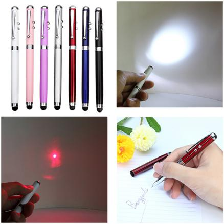 4-In-1 Function 650nm Ballpen Capacitive Touch Red Laser Pointer