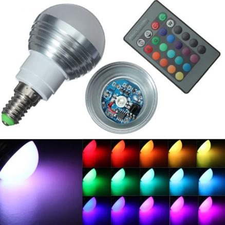 E14 3W IR Remote Control 16 Color Change RGB LED Ball Bulb 85-265V