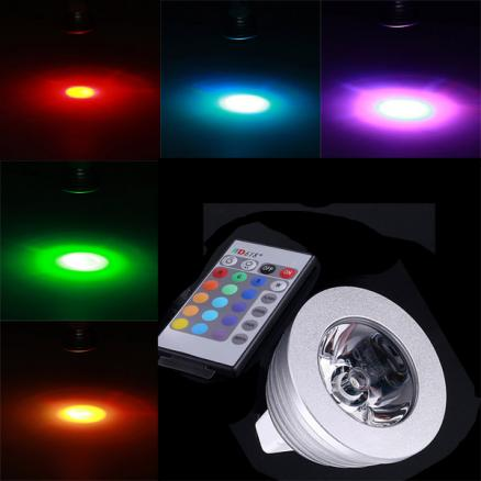 MR16 3W RGB Multicolored IR Remote Control Light Bulb (12V)