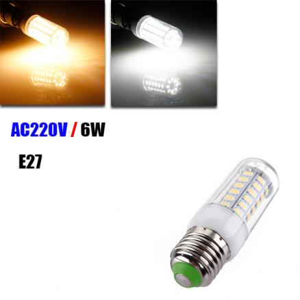 E27 6W 56 SMD 5730 LED Ultra Brigh Cover Corn Bulb AC 220V