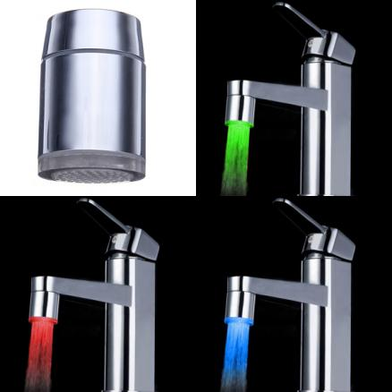 7 Color Changing LED Faucet Color Changing Water Tap Light Silver