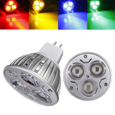 MR16 3W DC 12V 3 LEDs Red/Yellow/Blue/Green LED Spot Light Bulbs