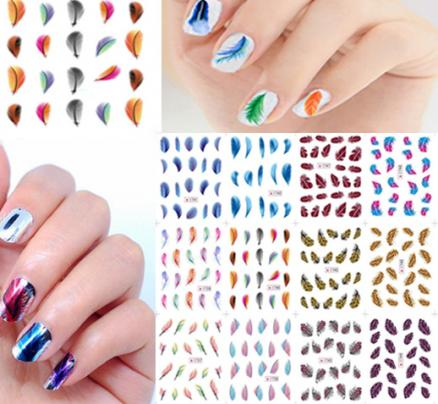 Colorful Feather Water Transfer Nail Art Stickers Leopard Nail Decals