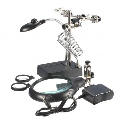 New 2.5X 7.5X 10X LED Light Magnifier Stand Clamp Magnifying Tool