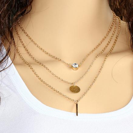 Sequin Metal Rod Crystal Multilayer Necklace Gold Plated Chain