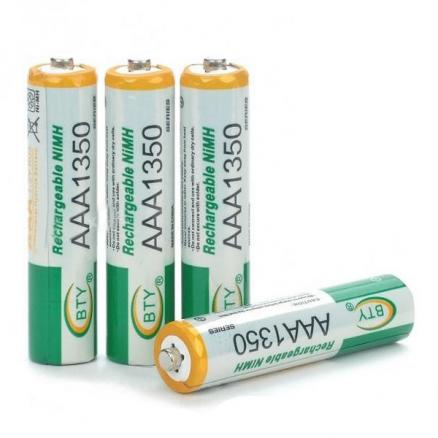 BTY Rechargeable 1.2V 1350mAh Ni-MH AAA Batteries 4-Piece Pack