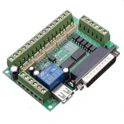 5 Axis CNC Breakout Interface Board For Stepper Driver Mach3 With USB