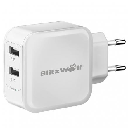 BlitzWolf® BW-S2 4.8A 24W Dual USB Travel Wall EU Charger With Power3S Tech For iPhone iPad Samsung