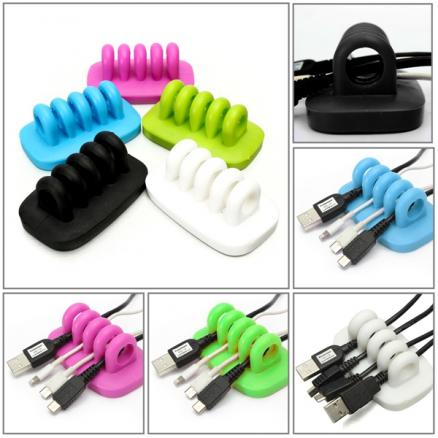 4-Port Desktop USB Cable Management Manager Wire Cord Lead Tidy Organizer Winder Clips Holder