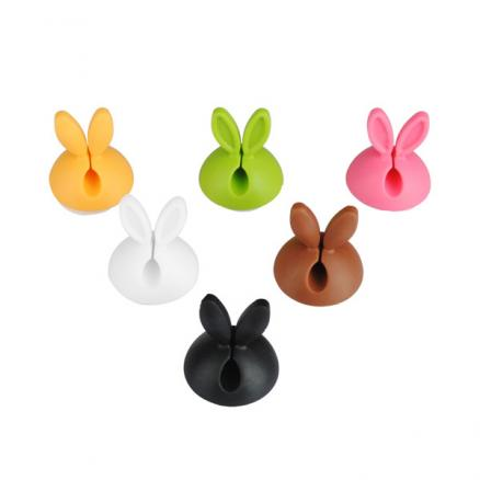 6PCS Cute Rabbit Ears Cable Drop Clips Desk Tidy Organiser Wire Cord USB Charger Holder