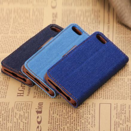 Denim Design PU Leather Stand Case With Card Holder For iPhone 5C