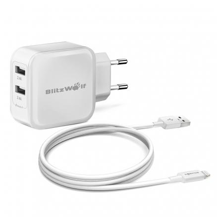 Apple MFI Blitzwolf® Lightning To USB Cable And 4.8A 24W Dual USB Travel Wall EU Charger Kit Combo