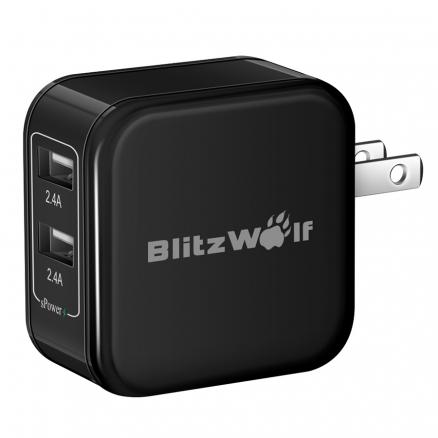 BlitzWolf® BW-S3 4.8A 24W Dual USB Travel Wall US Charger With Power3S Tech For iPhone iPad Samsung