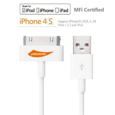 Original Yellowknife MFI Certified 30Pin USB Charger Sync Cable For iPhone 4 4S iPad 1 2 3 iPod