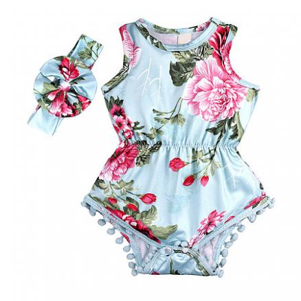 Botanical Print Pompon Embellished Romper With Hairband (4490695)