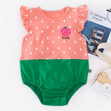 Raindrop Print Strawberry Pattern Fly Sleeves  Romper (4503400)