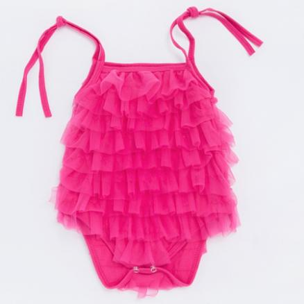 Solid Color Ruffle Tulle Embellished Romper (4475797)