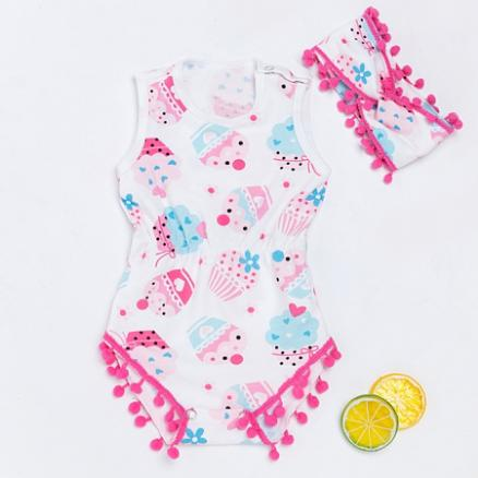 Ice Cream Print Pompon Embellished Romper With Hairband (4476432)