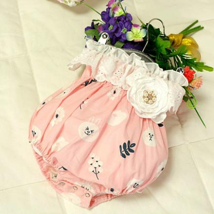 Flower Decorated Bunny And Botanical Print Romper (4508057)
