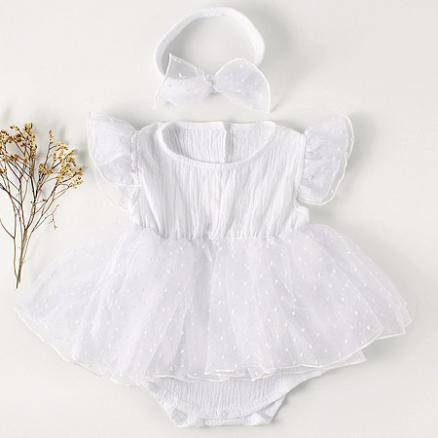 Tulle Fly Sleeves Solid Color White Romper With Hairband (4490631)
