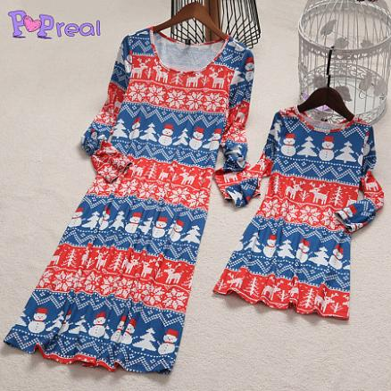 Mom Girl Snowmen Reindeer Patterns Christmas Dress (3983738)