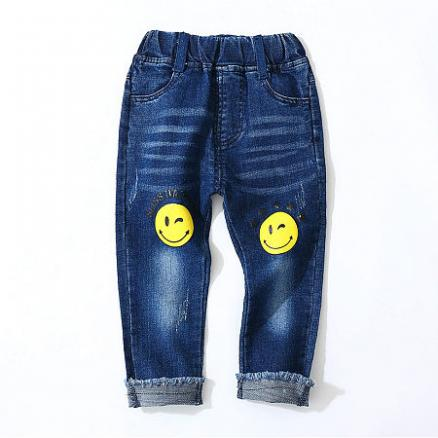 Solid Color Smiley Pattern Trousers (4969258)