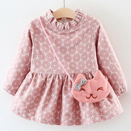 Frilled Collar Flower Prints Dress With Kitty Accessory (3887417)