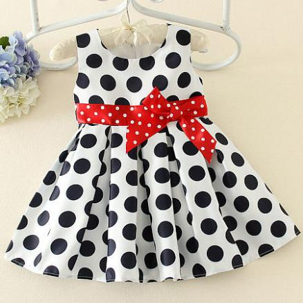 Thickened Polka Dots Bowknot Decorated Color Block Dress (4087224)