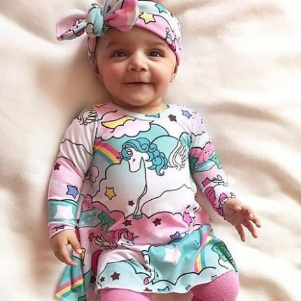 Cartoon Horse Pattern Dress With Headband (4071003)