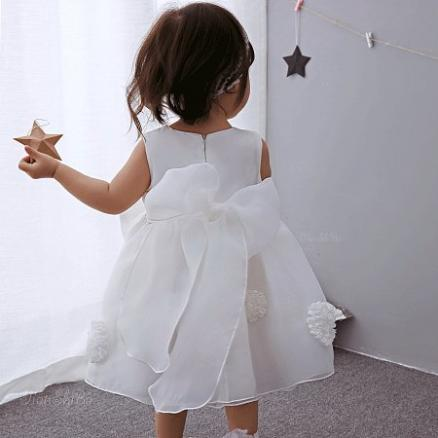 Flower Bowknot Decorated Solid Color Tulle Princess Dress (4067907)